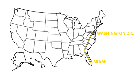 Map of the United States showing a linear trajectory from Miami to Washington D.C.